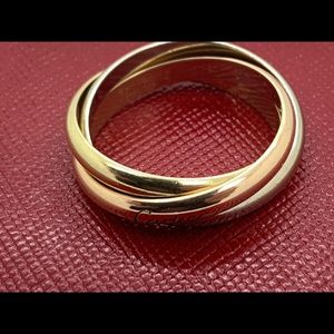 Cartier 18 KT Gold Trinity Multi Color Ring Sz.12